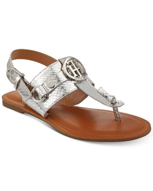 Tommy Hilfiger - Metallic Luvee Flat Sandals - Lyst