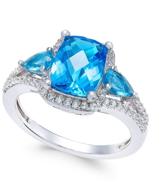 Macy's | Metallic Swiss Blue Topaz (2-5/8 Ct. T.w.) And White Topaz (1/4 Ct. T.w.) Ring In Sterling Silver | Lyst