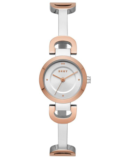 DKNY Multicolor City Link Two-tone Stainless Steel Half-bangle Bracelet Watch 24mm, Created For Macy's