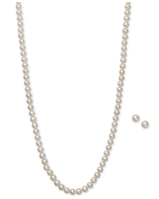 Macy's - Metallic Cultured Freshwater Pearl (5mm) Necklace And Earring Set - Lyst