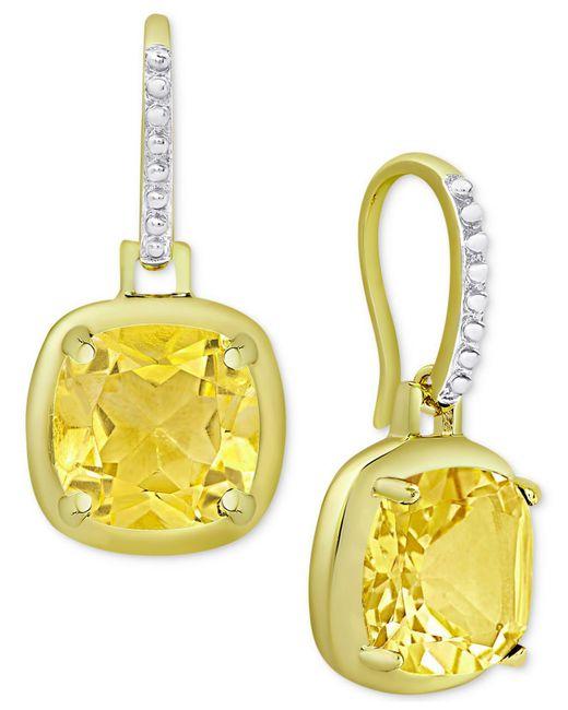Macy's   Metallic Citrine Cushion Drop Earrings (3-5/8 Ct. T.w.) In 18k Gold-plated Sterling Silver   Lyst