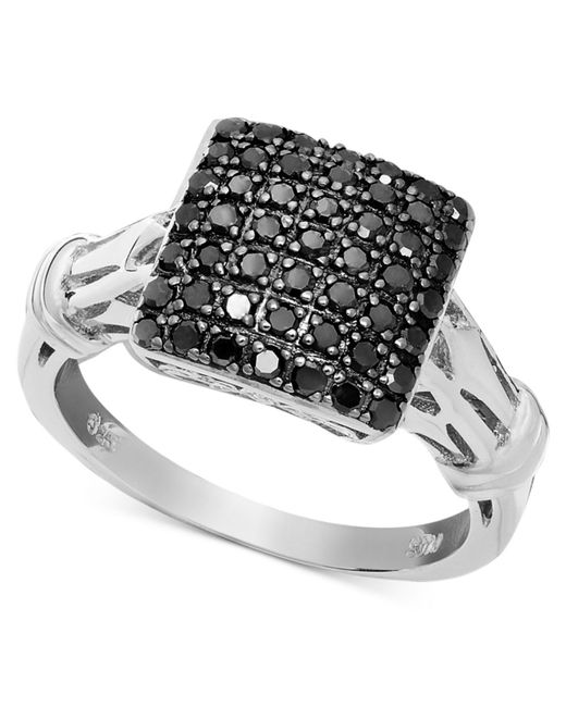 Macy's - Metallic Black Diamond Square Ring In Sterling Silver (1/2 Ct. T.w.) - Lyst