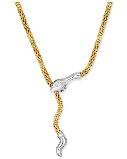 Macy's - Metallic Emerald-accent Snake Lariat Necklace In 14k Vermeil And Sterling Silver - Lyst