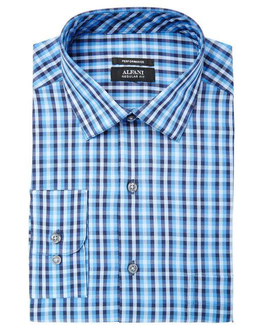 Alfani   Blue Men's Classic/regular Fit Performance Stretch Small Pixel Print Shirt, Created For Macy's for Men   Lyst