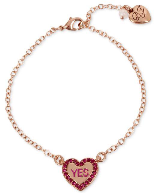 Betsey Johnson | Metallic Rose Gold-tone Pink Stone Candy Heart Ankle Bracelet | Lyst
