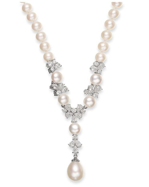 Arabella - Metallic Cultured Freshwater Pearl (7-12mm) And Swarovski Zirconia (7-3/4 Ct. T.w.) Y-shaped Necklace In Sterling Silver - Lyst
