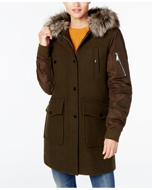 BCBGeneration | Green Faux-fur-trim Mixed-media Coat | Lyst
