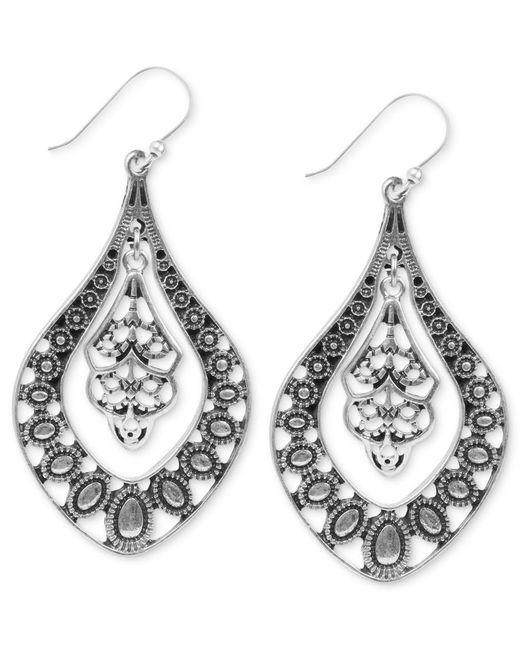 Lucky Brand   Metallic Earrings, Silver-tone Filigree Oblong Earrings   Lyst
