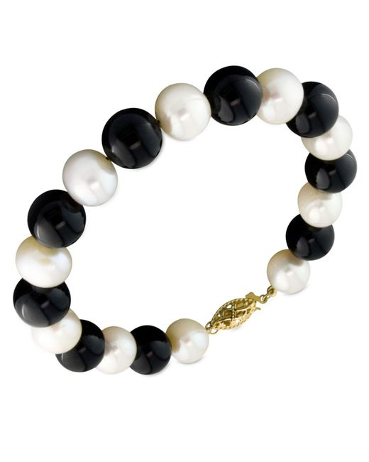 Macy's - Black Cultured Freshwater Pearl (7-1/2-8-1/2mm) And Onyx (9mm) Bracelet In 14k Gold - Lyst