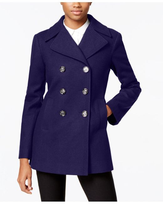 Kenneth Cole - Blue Double-breasted Peacoat - Lyst