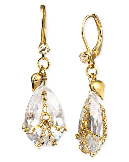 Betsey Johnson | Metallic Teardrop Crystal Earrings | Lyst