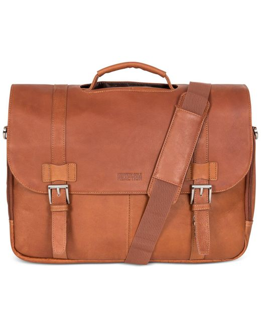 Kenneth Cole Reaction | Brown Messenger Bag, Columbia Leather Flapover Portfolio | Lyst