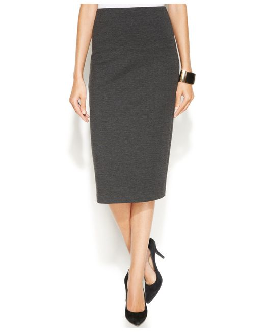 Vince Camuto Ponte Knit Midi Skirt In Gray Lyst
