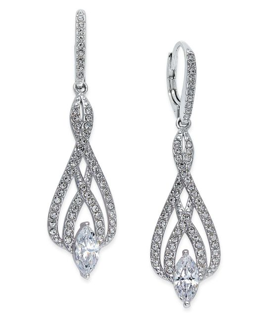 Danori - Metallic Silver-tone Marquise Crystal And Pavé Drop Earrings - Lyst