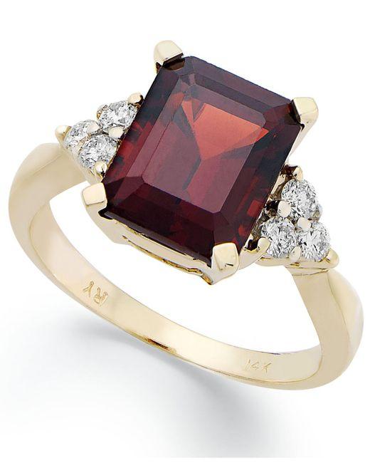 Macy's | Metallic 14k Gold Ring, Emerald-cut Garnet (3-1/2 Ct. T.w.) And Diamond (1/4 Ct. T.w.) Ring | Lyst
