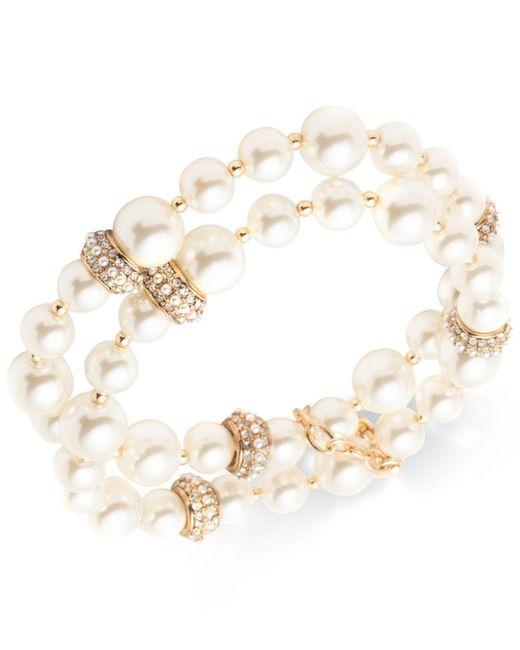 Anne Klein - Metallic Gold-tone Pavé Bead & Imitation Pearl Double-row Stretch Bracelet - Lyst