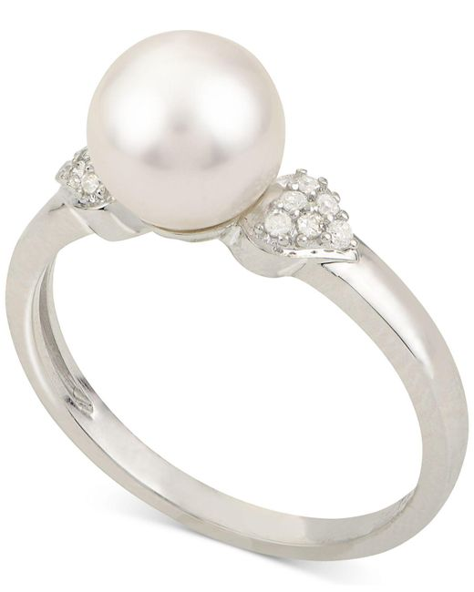 Macy's Cultured Akoya Pearl (7-1/2mm) & Diamond Accent Ring In 14k White Gold