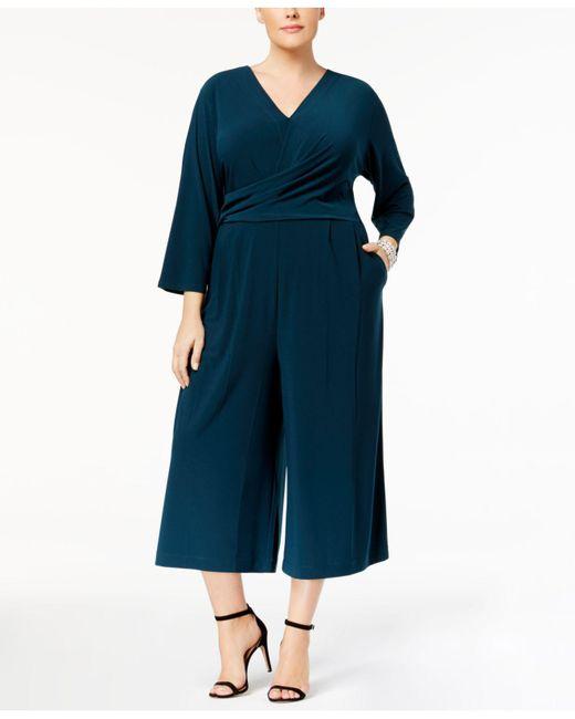 Love Scarlett | Green Plus Size Faux-wrap Jumpsuit | Lyst