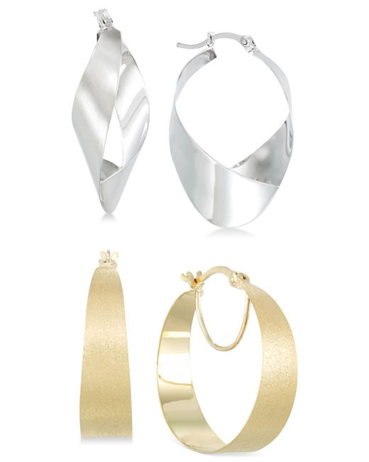 Macy's | Metallic Hoop And Teardrop Hoop Earrings Set In 14k White Gold Vermeil And 14k Gold Vermeil | Lyst