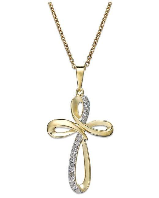 Macy's | Metallic Diamond Cross Pendant Necklace In 18k Gold Over Sterling Silver (1/10 Ct. T.w.) | Lyst