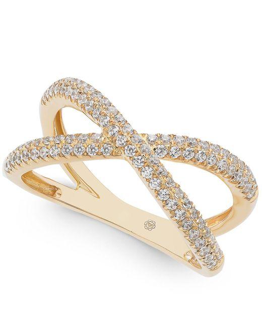 Macy's - Metallic Diamond Crisscross Ring (1/2 Ct. T.w.) In 14k Gold - Lyst