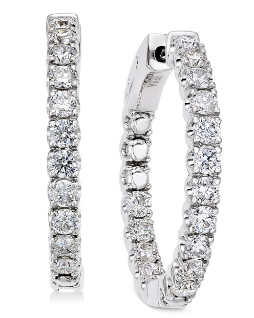 Macy's - Diamond In-and-out Hoop Earrings (2 Ct. T.w.) In 14k White Gold - Lyst