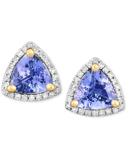 Macy's - Blue Tanzanite (1-3/8 Ct. T.w.) & Diamond (1/8 Ct. T.w.) Stud Earrings In 14k White Gold - Lyst