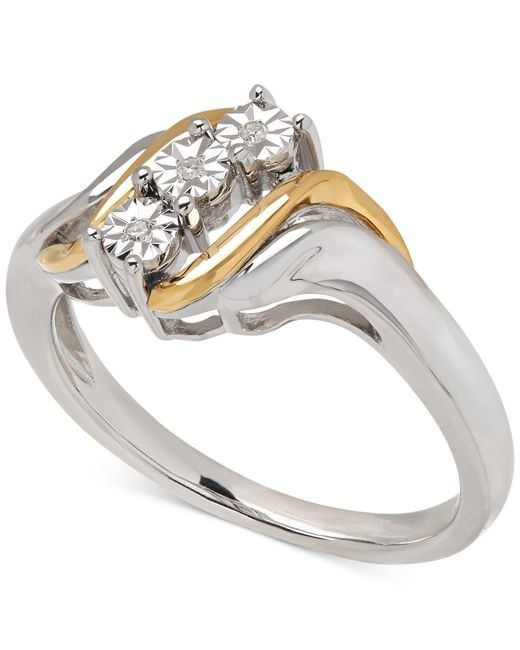 Macy's - Metallic Diamond Accent Ring In 14k Gold And Sterling Silver - Lyst