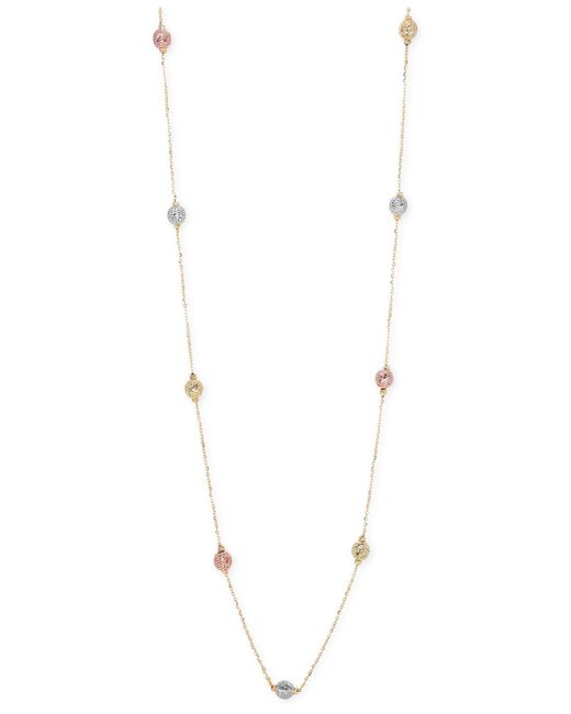 Macy's | Metallic Tri-tone Textured Bead Long Necklace In 14k Gold, White Gold And Rose Gold | Lyst
