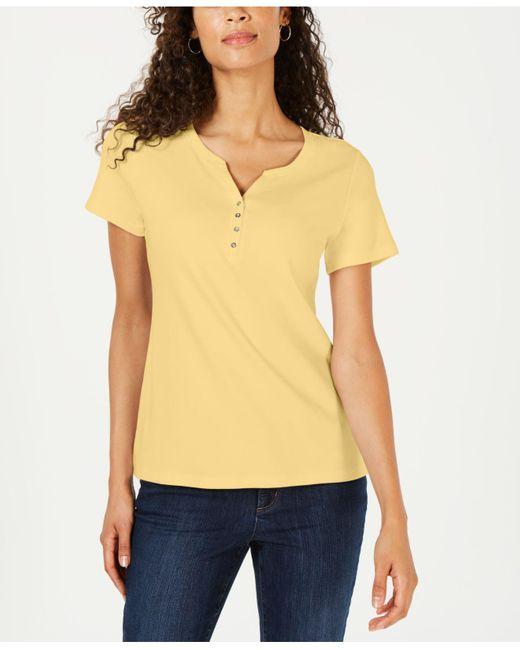 Karen Scott Yellow Short Sleeve Henley Top, Created For Macy's