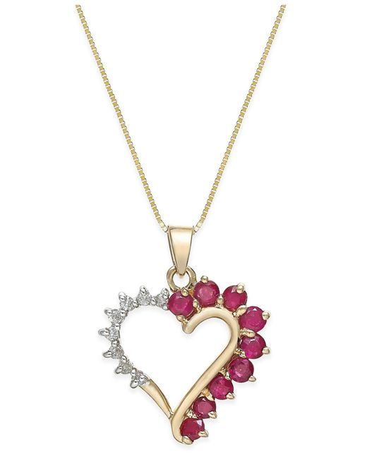 Macy's - Red Ruby (4/5 Ct. T.w.) And Diamond Accent Heart Pendant Necklace In 14k Gold - Lyst