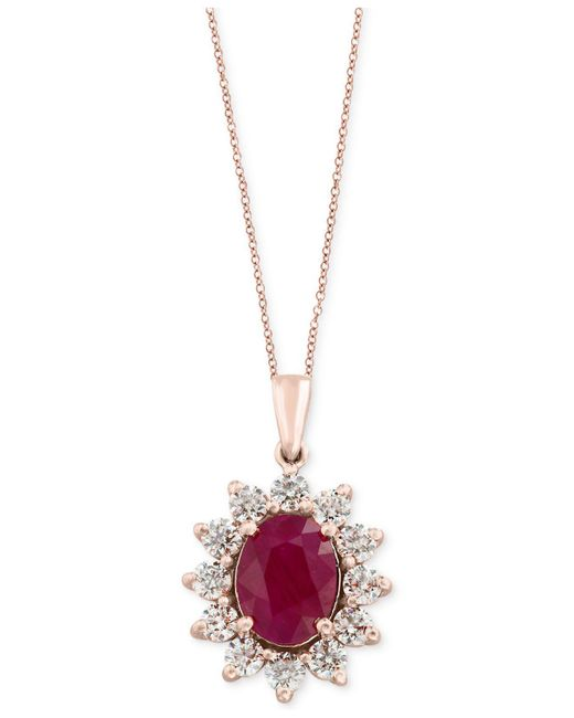 Effy Collection - Multicolor Certified Ruby (1-9/10 Ct. T.w.) And Diamond (9/10 Ct. T.w.) Pendant Necklace In 14k Rose Gold - Lyst