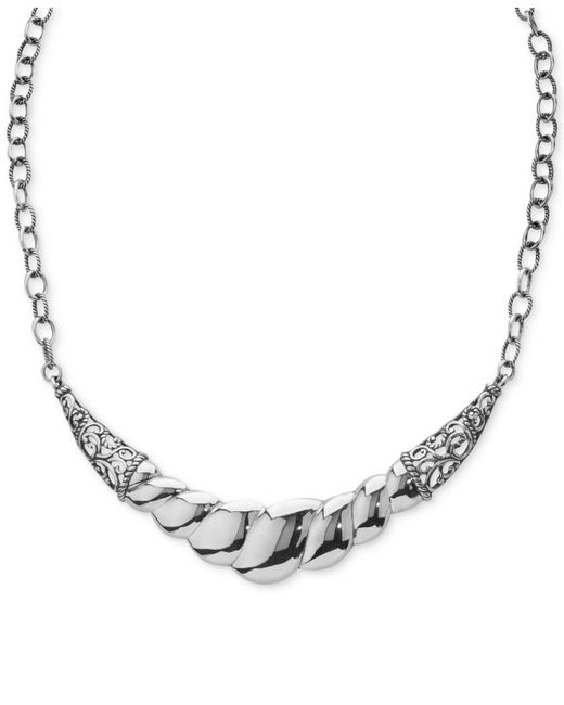 Carolyn Pollack - Metallic Wide Filigree Rope-style Statement Necklace In Sterling Silver - Lyst
