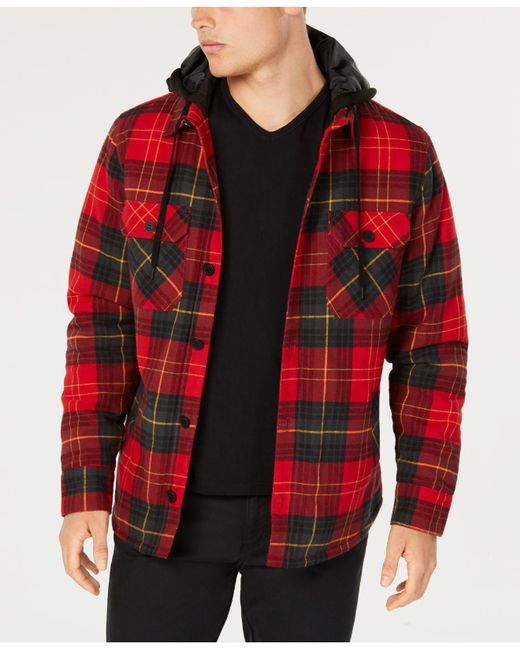 American Rag - Red Plaid Hooded Shirt Jacket, Created For Macy's for Men - Lyst