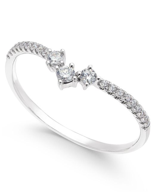 Macy's Diamond Curved Band (1/5 Ct. T.w.) In 14k White Gold