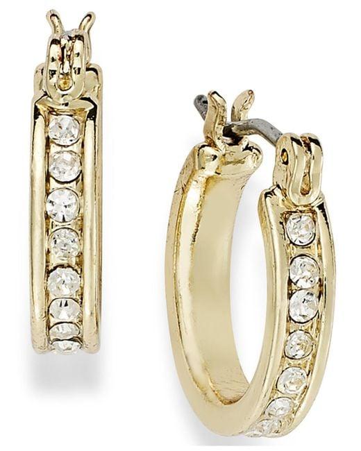 Charter Club Metallic 14k Gold Plated Crystal Mini Hoop Earrings