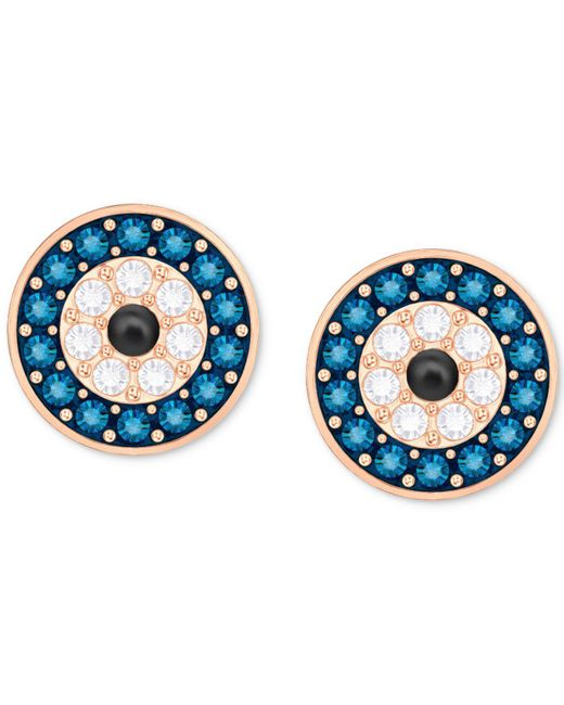 Swarovski - Rose Gold-tone Blue & Clear Pavé Stud Earrings - Lyst