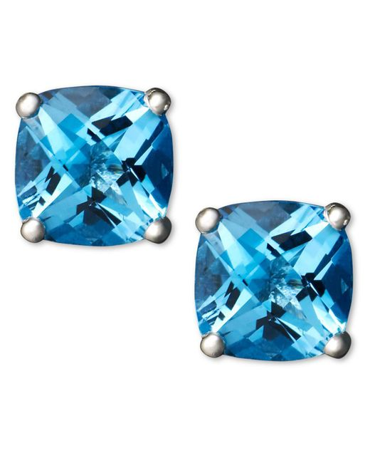 Macy's - 14k White Gold Earrings, Blue Topaz Cushion Studs - Lyst