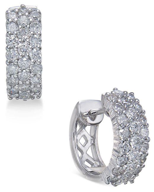 Macy's Metallic Diamond Hoop Earrings (1 Ct. T.w.) In 14k White Gold