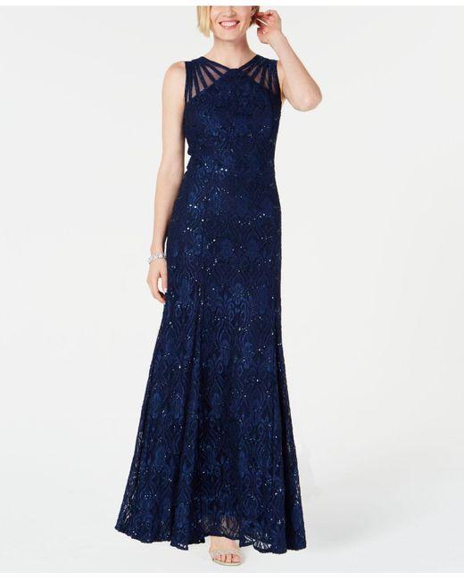 R & M Richards Blue Long Sequin Gown