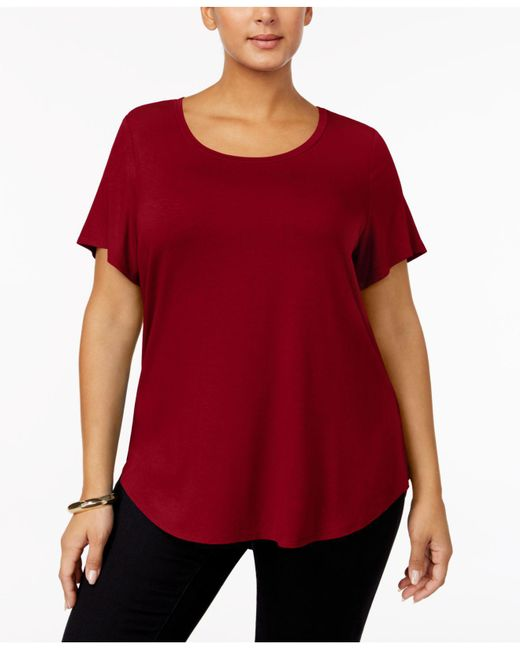 Alfani | Red Plus Size High-low Tee | Lyst