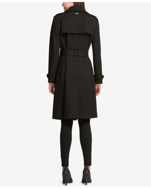 5277eecf4c2 ... Lyst DKNY - Black Belted Double-breasted Trench Coat