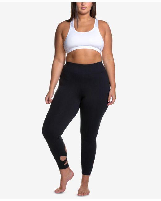Soffe - Black Curves Plus Size Wraparound-hem Performance Leggings - Lyst