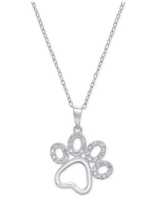 Macy's   Metallic Diamond Pawprint Pendant Necklace (1/10 Ct. T.w.) In Sterling Silver   Lyst