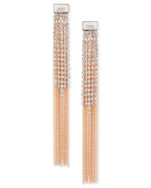 Guess - Metallic Rose Gold-tone Crystal & Chain Fringe Front-and-back Earrings - Lyst