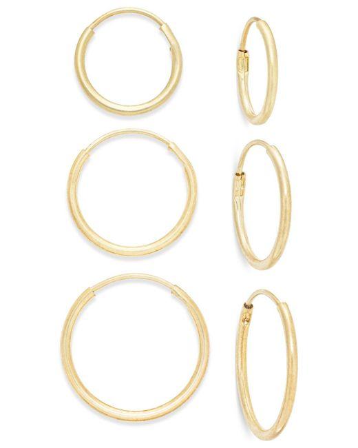 Macy's Metallic Polished Hoop Earring Set Ion 10k Gold