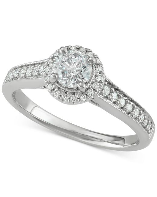 Macy's - Metallic Diamond Halo Engagement Ring (3/4 Ct. T.w.) In 14k White Gold - Lyst