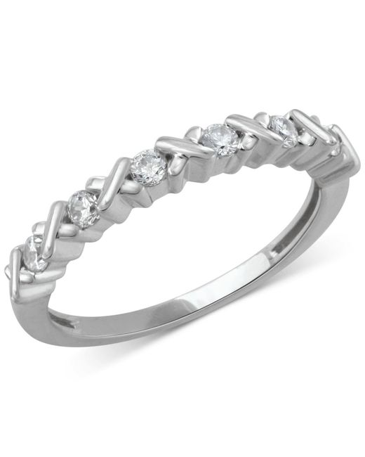 Macy's - Multicolor Diamond Crisscross Band (1/4 Ct. T.w.) In 14k Rose, Yellow Or White Gold - Lyst