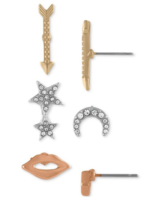 RACHEL Rachel Roy - Metallic Tri-tone 3-pc. Set Stud Earrings - Lyst