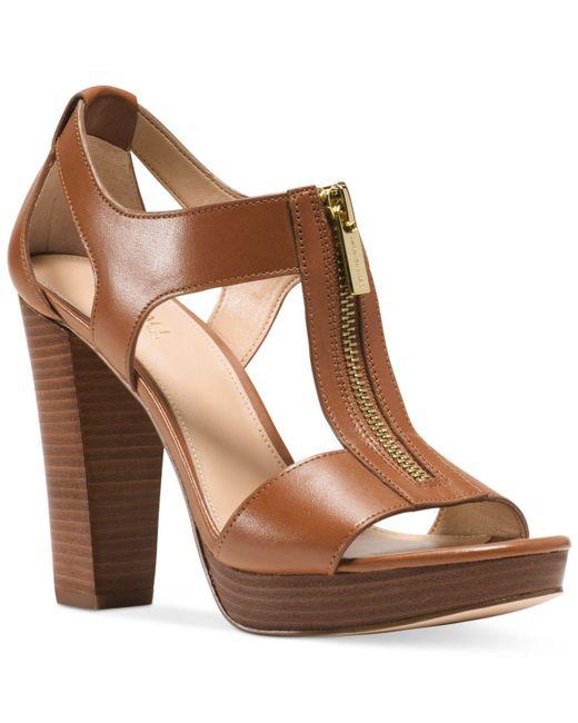 Michael Kors Brown Berkley T-strap Platform Dress Sandals